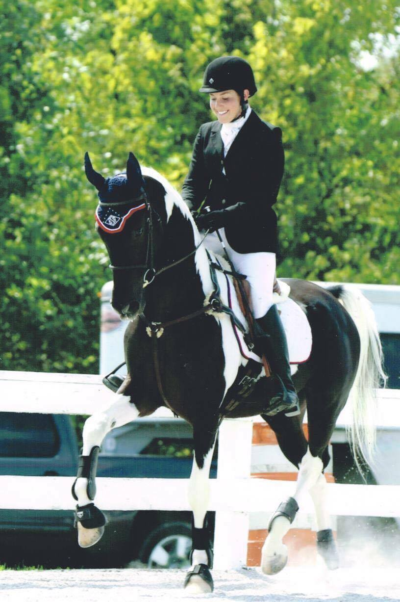 Brooke Schafer and Nite Of Fame, who competes in both eventing and Saddlebred hunt seat classes.