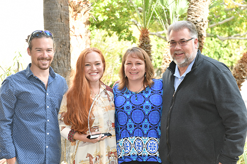 Ali celebrated her E. Mikkelsen Distinguished Service Award with Grant Fleming and Rich and Maureen Campbell. Photo by Howard Schatzberg.