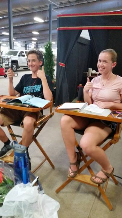 Equitate's directors chairs did double duty for Marjorie and Harrison Hanneman at the Madison Classic Horse Show as they caught up on school work while Marjorie got her hair done.