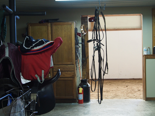 The tackroom at Mike Roberts is built in the center of the structure, conveniently located to any of the stalls.