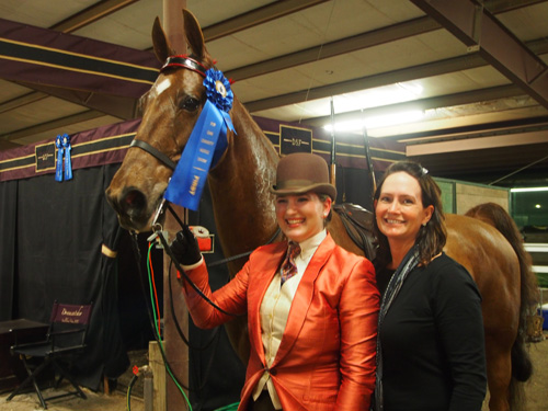 Stonecroft Rumor Has It and Jessica Cloud made their amateur debut a blue one in the Adult Five-Gaited Show Pleasure class.